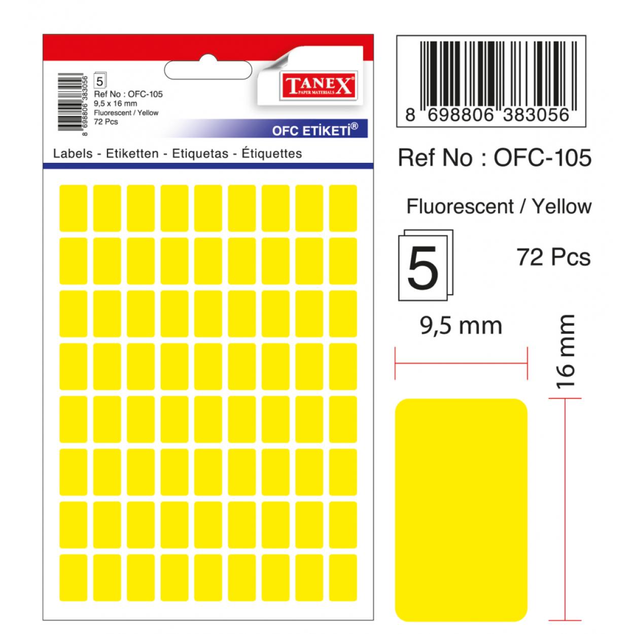 Tanex Ofc-105 Flo Sarı Ofis Etiketi