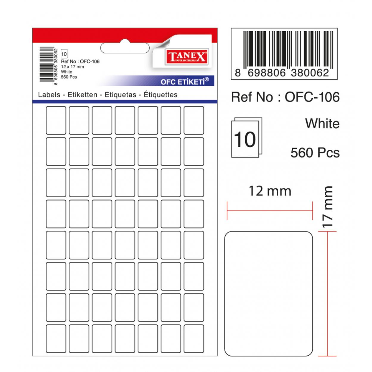 Tanex Ofc-106 Beyaz Ofis Etiketi