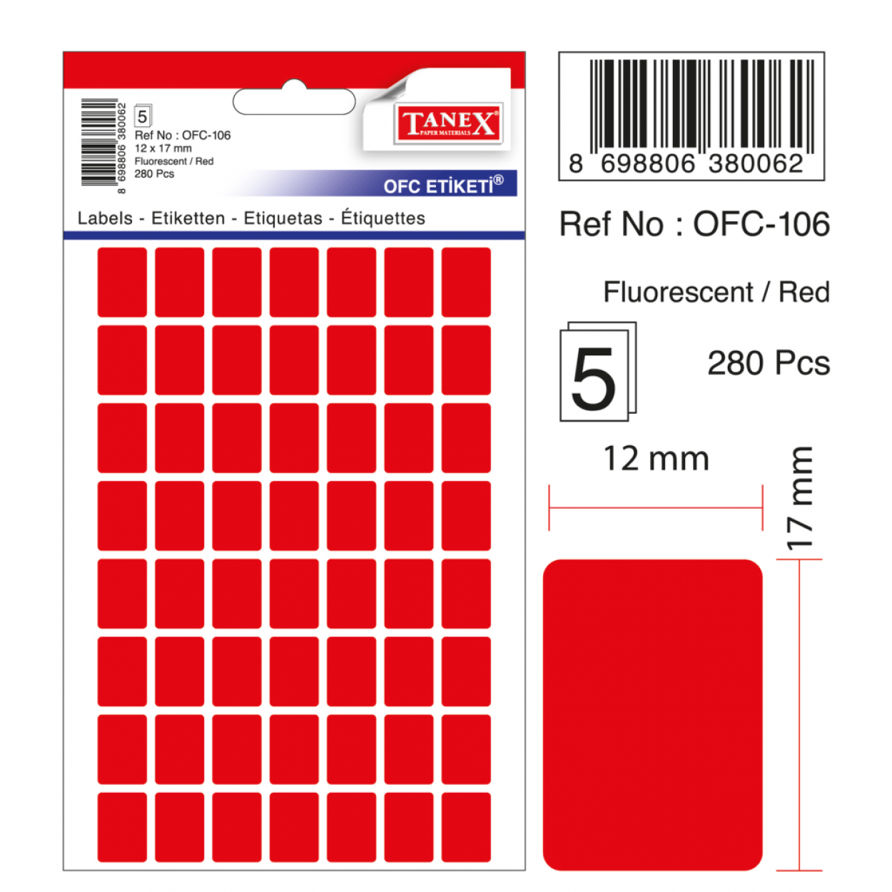 Tanex Ofc-106 Flo Kırmızı Ofis Etiketi