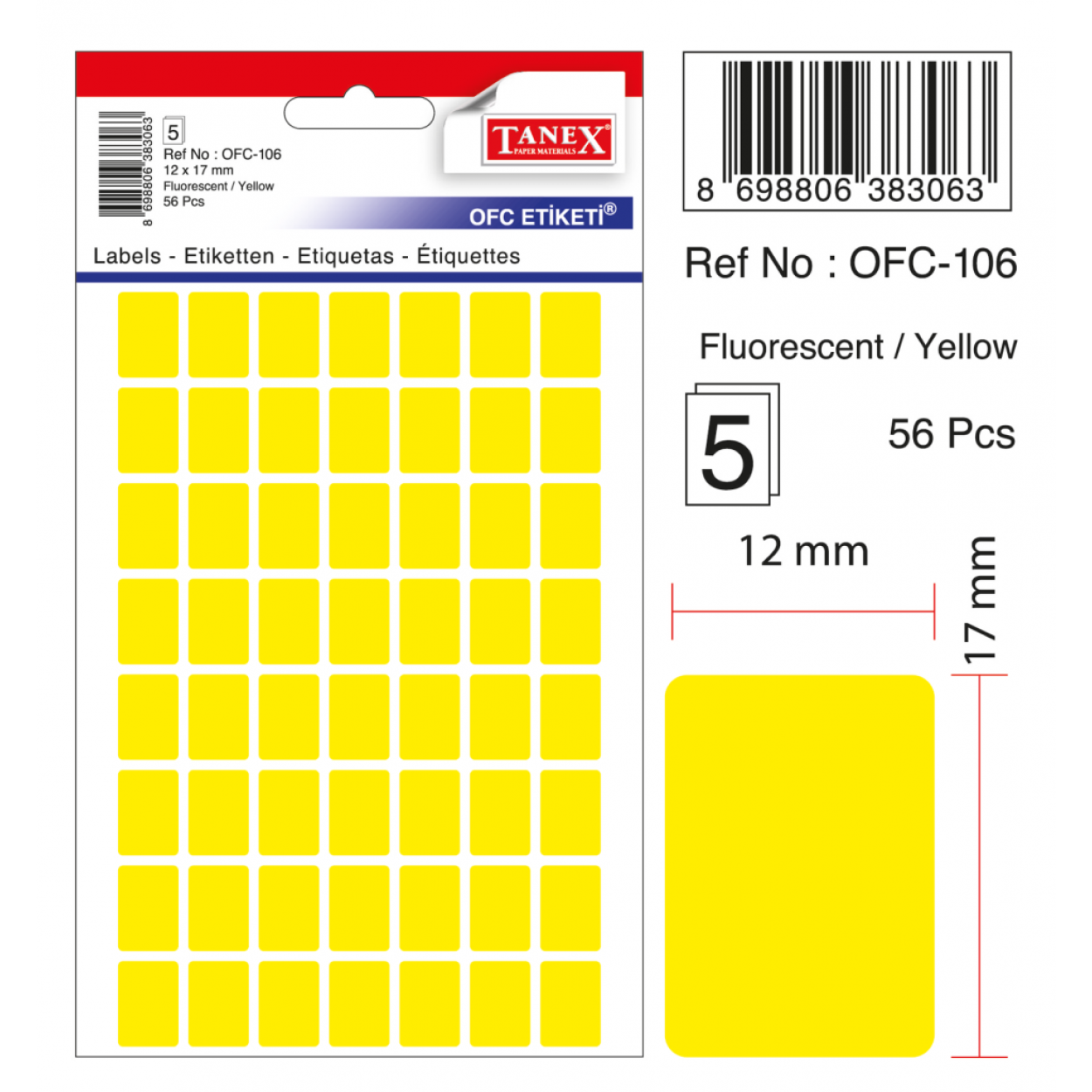 Tanex Ofc-106 Flo Sarı Ofis Etiketi