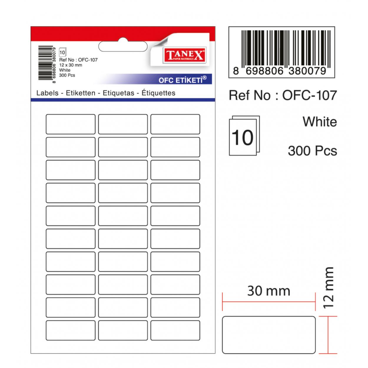 Tanex Ofc-107 Beyaz Ofis Etiketi