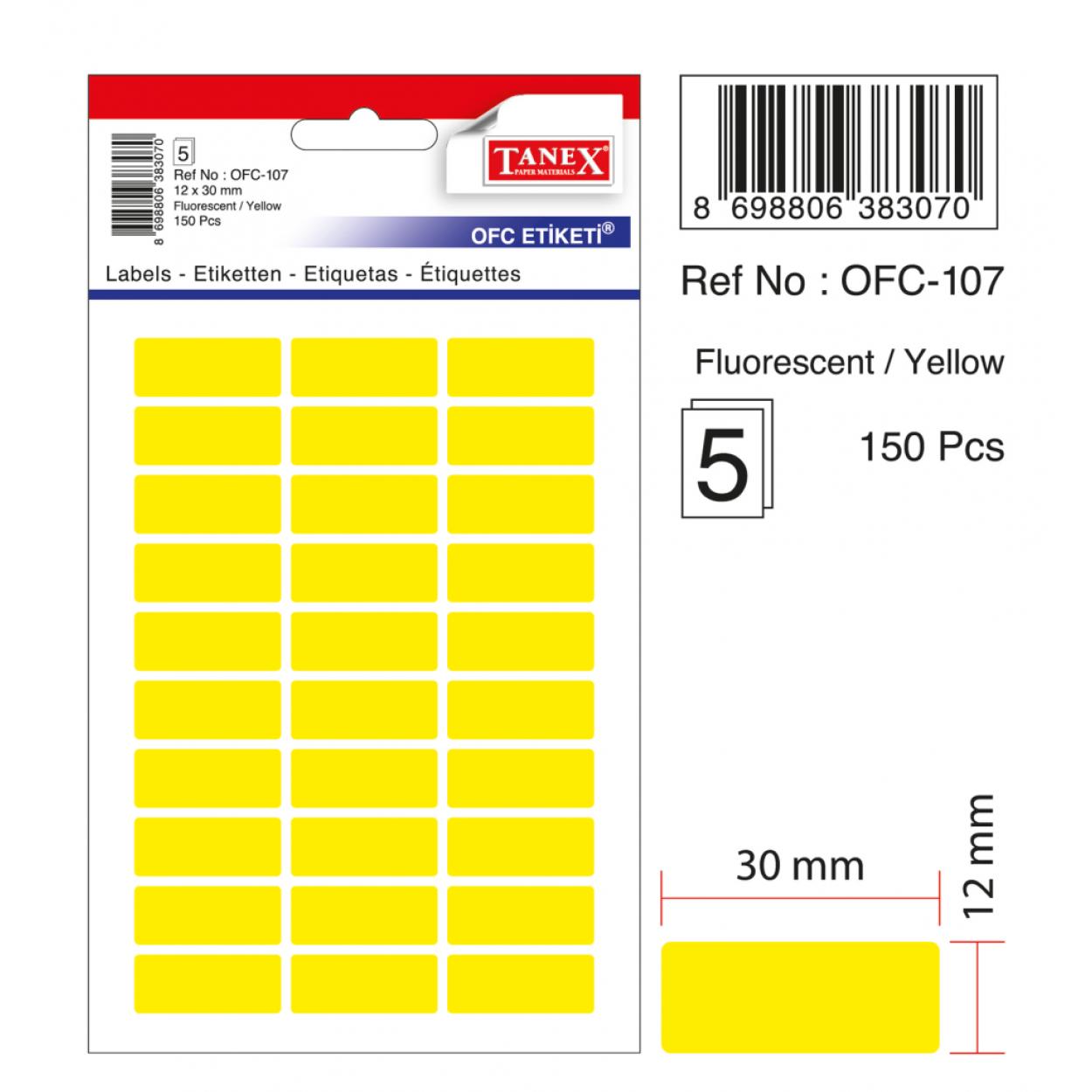 Tanex Ofc-107 Flo Sarı Ofis Etiketi