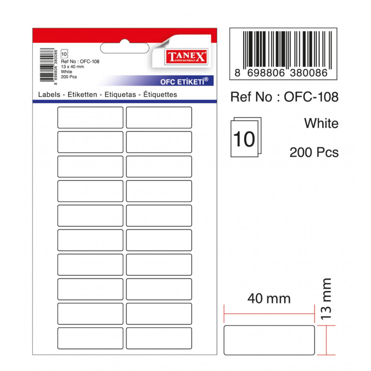 Tanex Ofc-108 Beyaz Ofis Etiketi