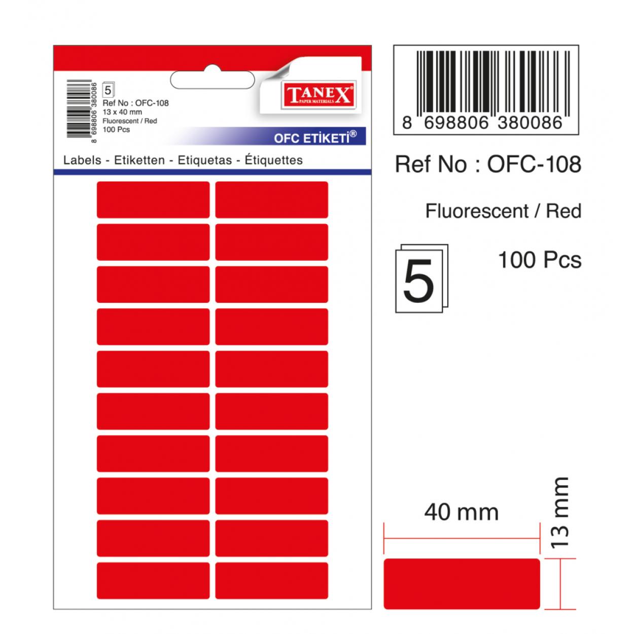 Tanex Ofc-108 Kırmızı Ofis Etiketi