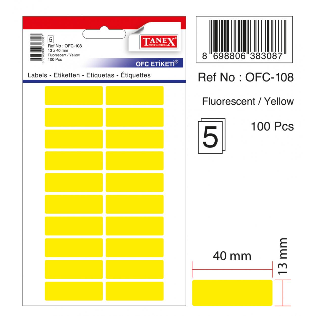 Tanex Ofc-108 Sarı Ofis Etiketi