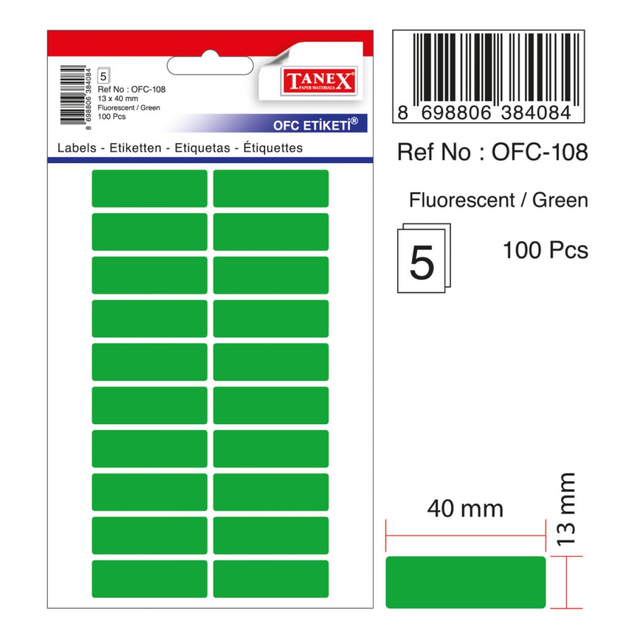 Tanex Ofc-108 Yeşil Ofis Etiketi