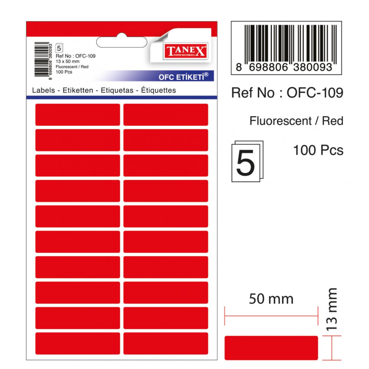 Tanex Ofc-109 Flo Kırmızı Ofis Etiketi