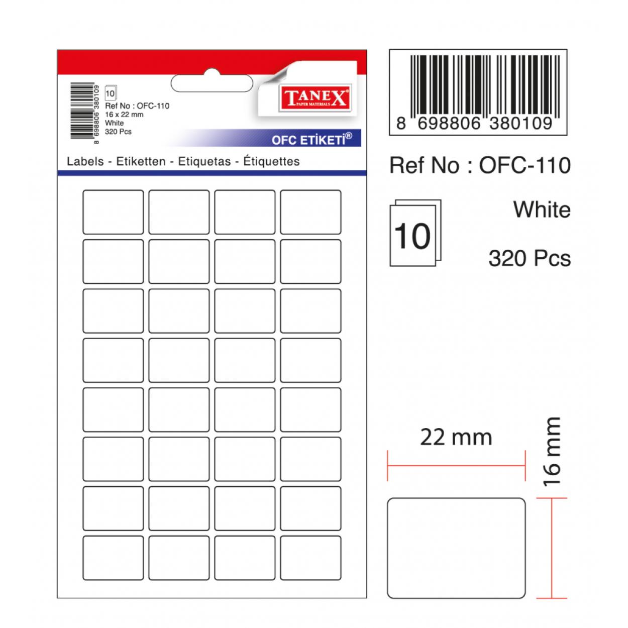 Tanex Ofc-110 Beyaz Ofis Etiketi