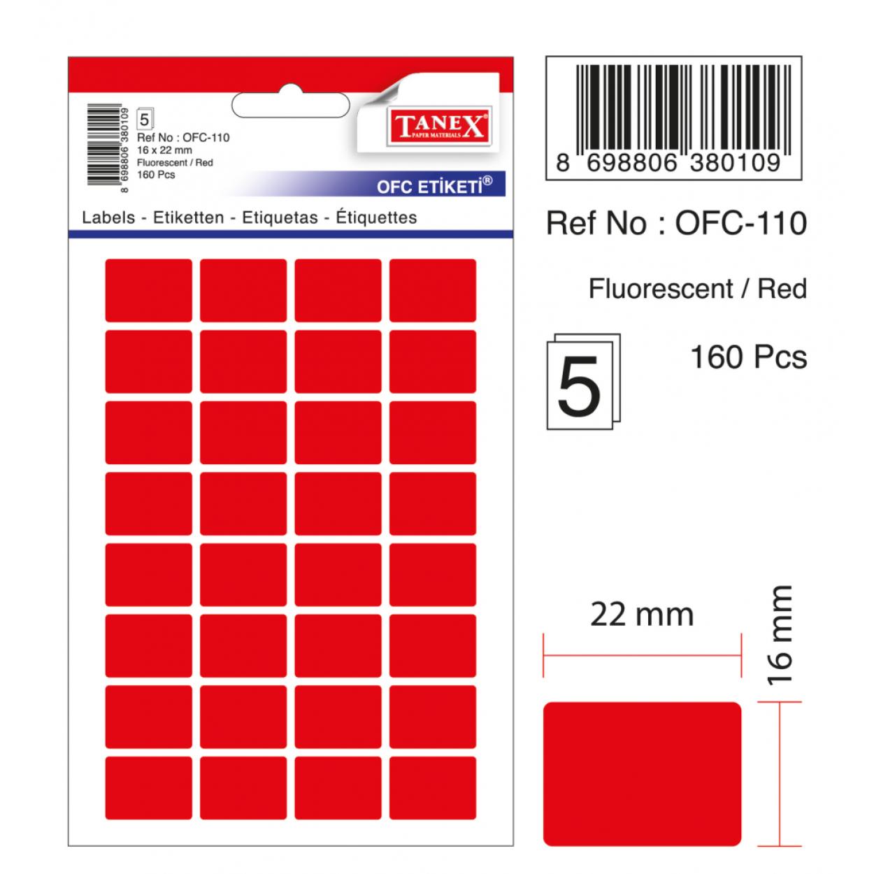 Tanex Ofc-110 Flo Kırmızı Ofis Etiketi