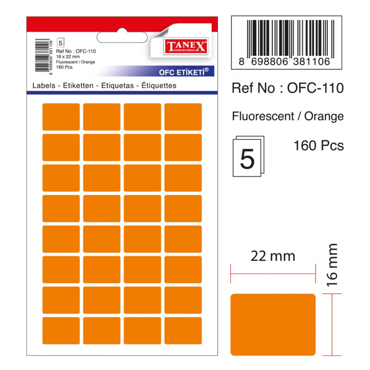 Tanex Ofc-110 Flo Turuncu Ofis Etiketi