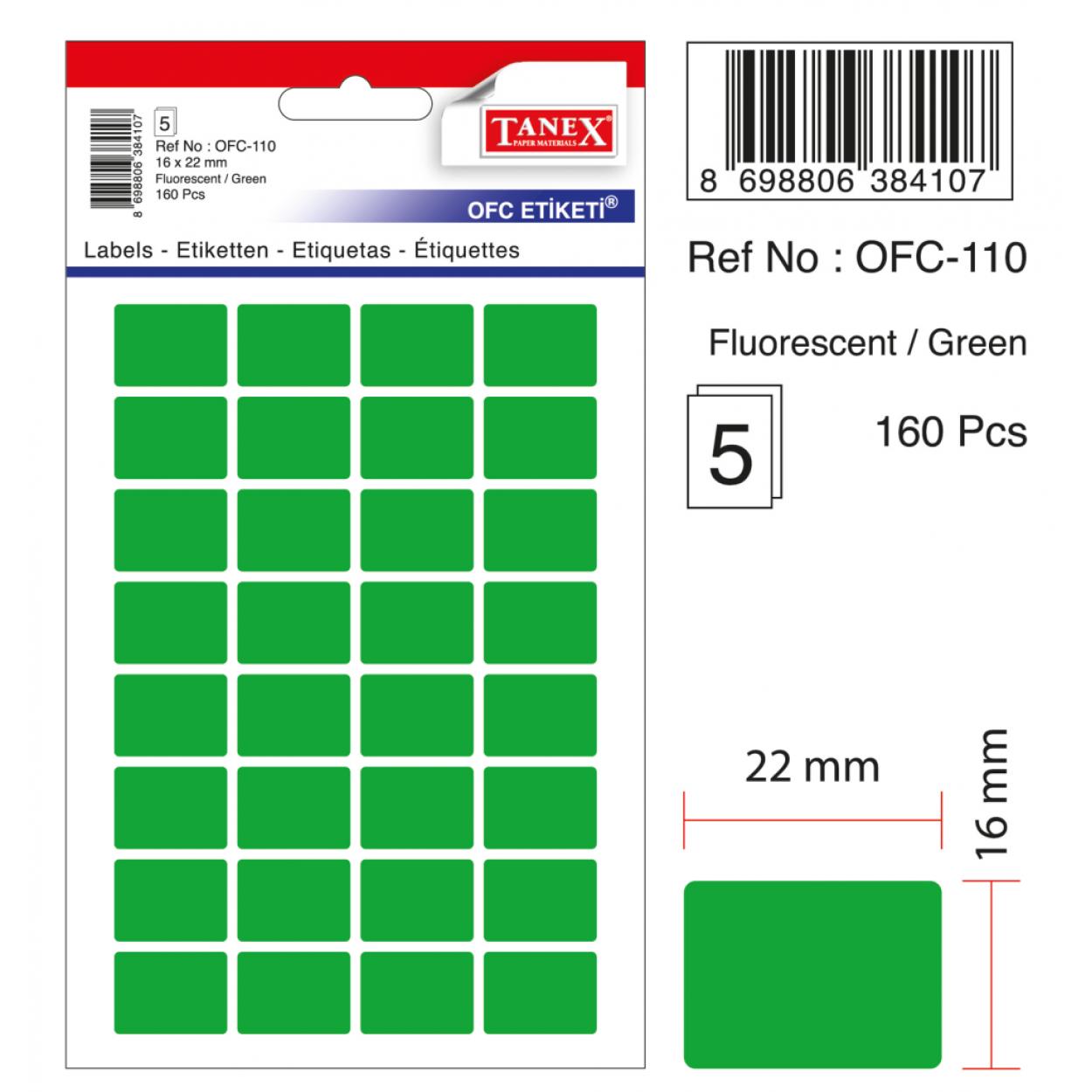 Tanex Ofc-110 Flo Yeşil Ofis Etiketi