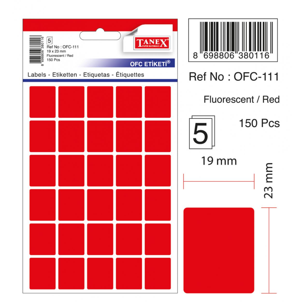 Tanex Ofc-111 Kırmızı Ofis Etiketi