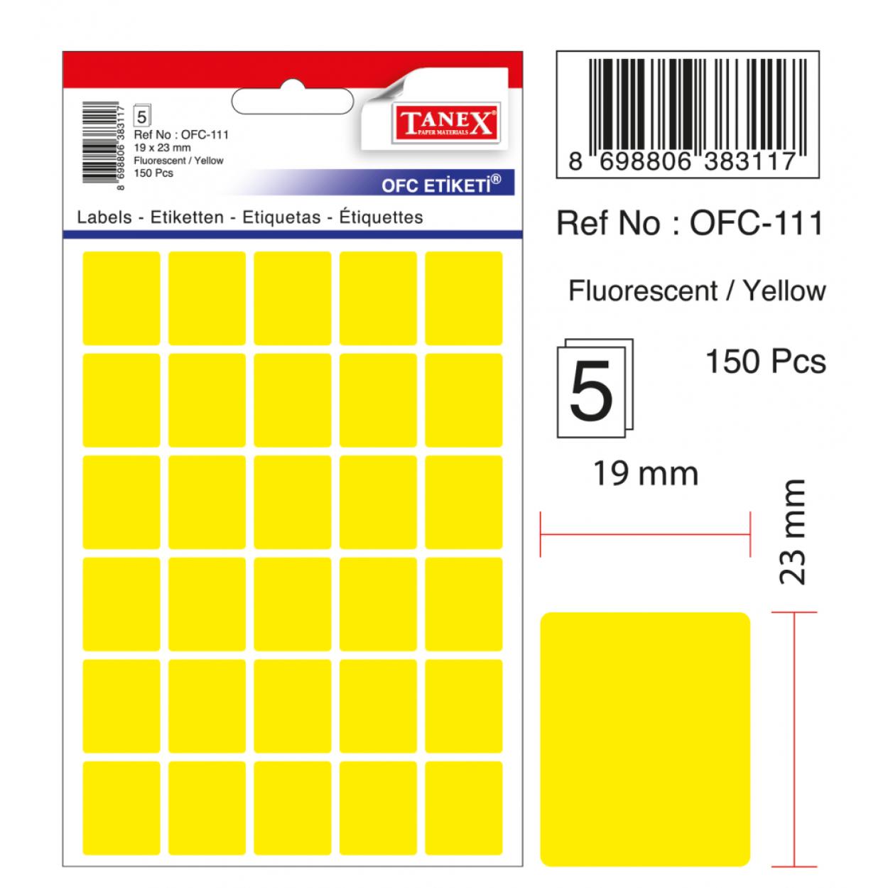 Tanex Ofc-111 Sarı Ofis Etiketi