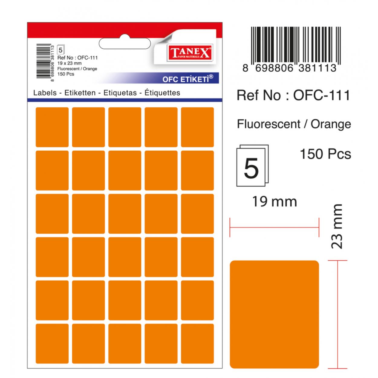 Tanex Ofc-111 Turuncu Ofis Etiketi