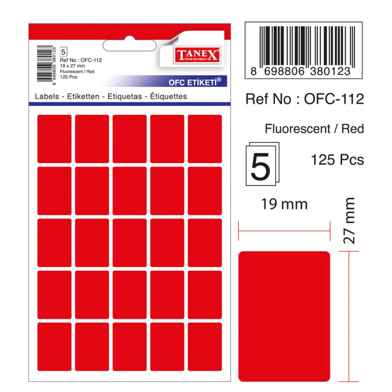 Tanex Ofc-112 Flo Kırmızı Ofis Etiketi