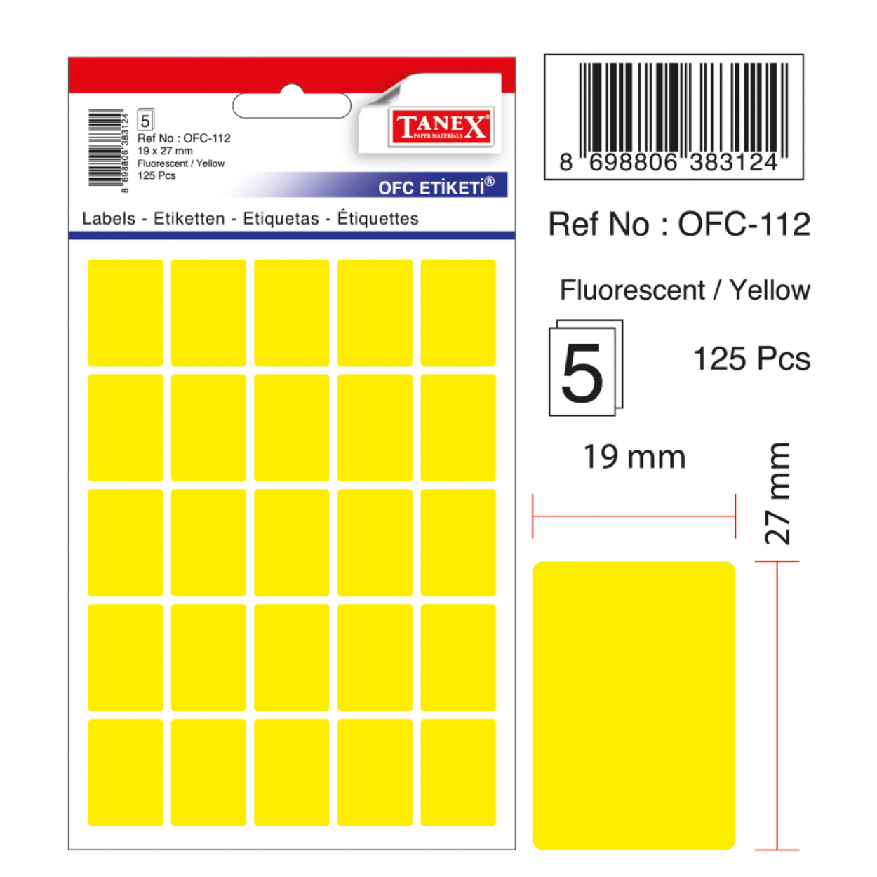 Tanex Ofc-112 Flo Sarı Ofis Etiketi