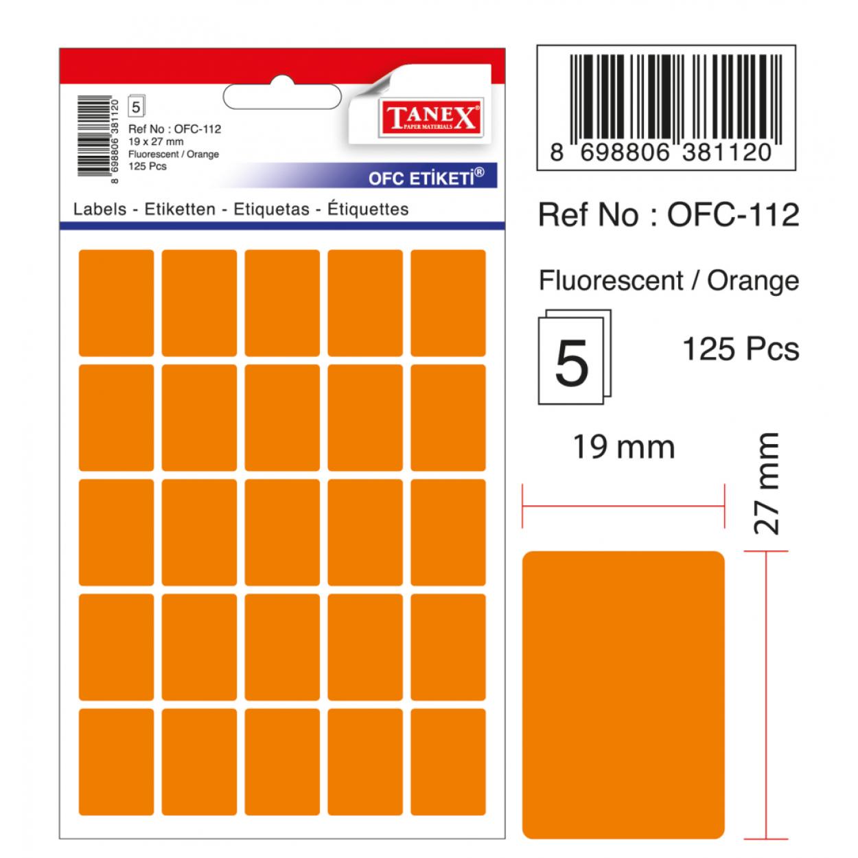 Tanex Ofc-112 Flo Turuncu Ofis Etiketi