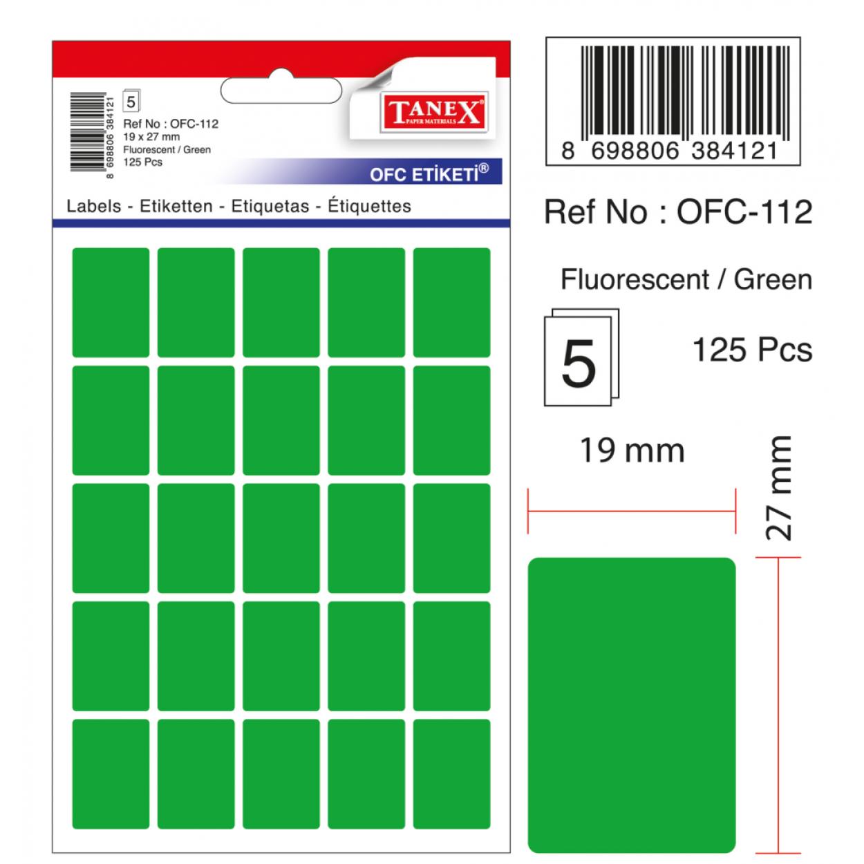 Tanex Ofc-112 Flo Yeşil Ofis Etiketi