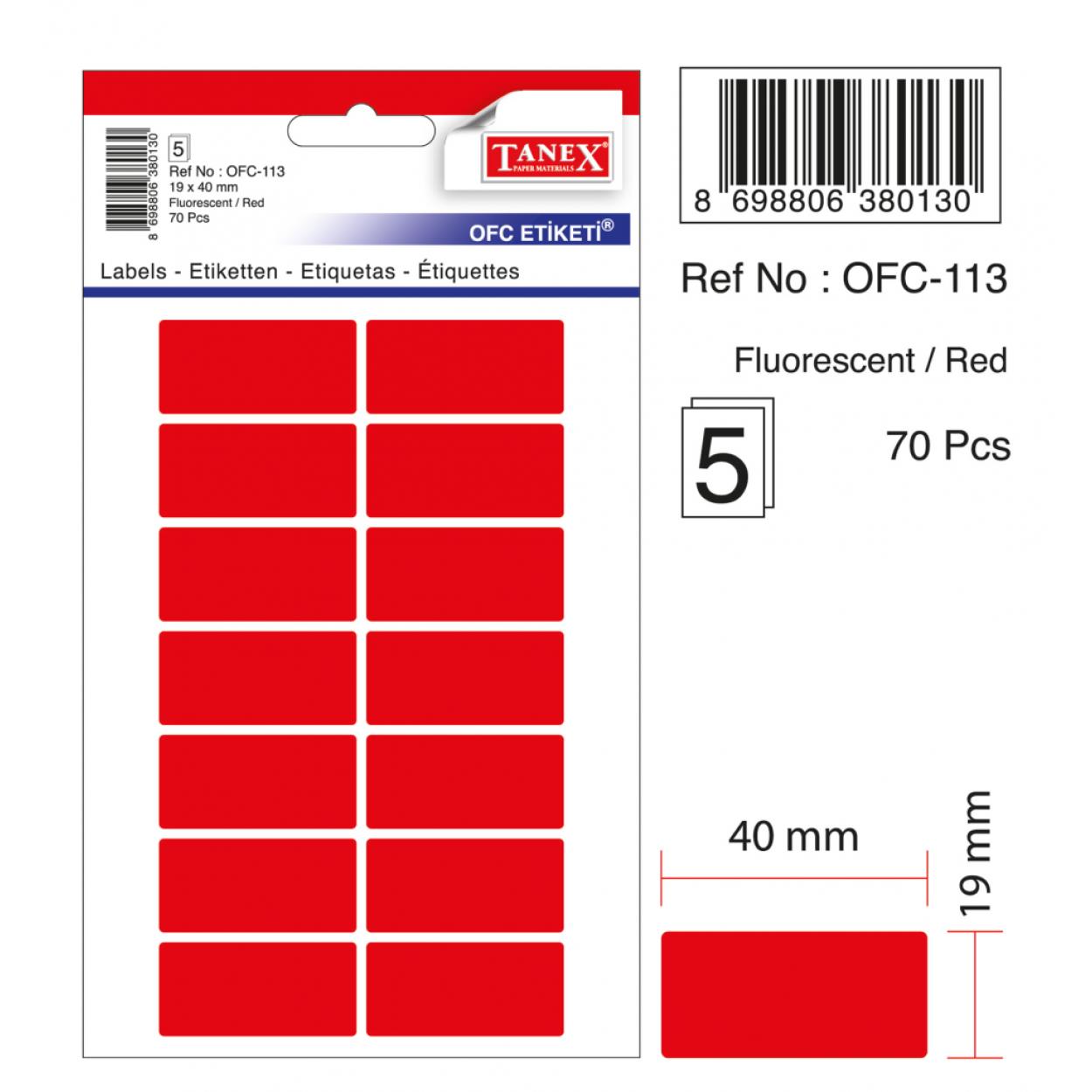 Tanex Ofc-113 Flo Kırmızı Ofis Etiketi