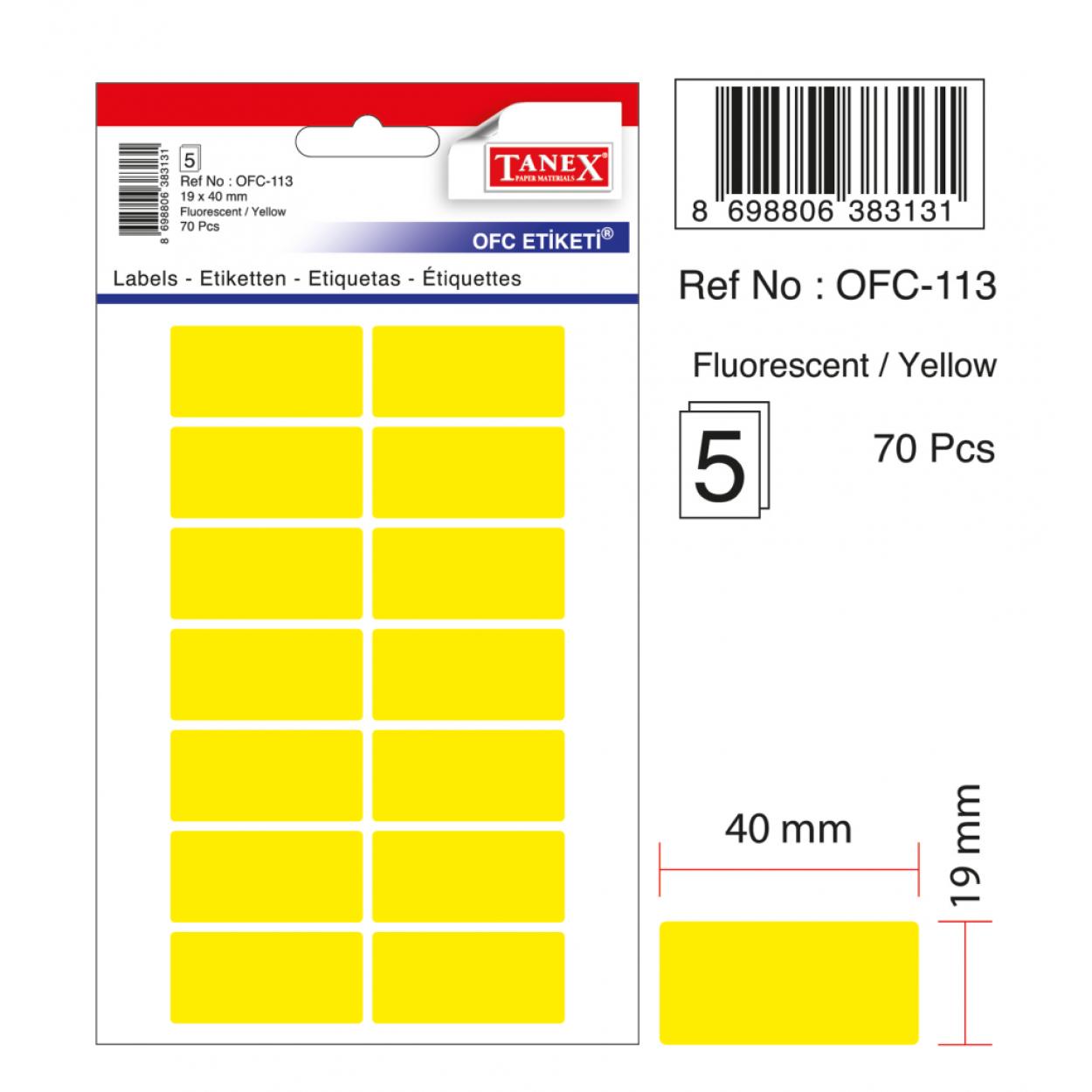Tanex Ofc-113 Flo Sarı Ofis Etiketi
