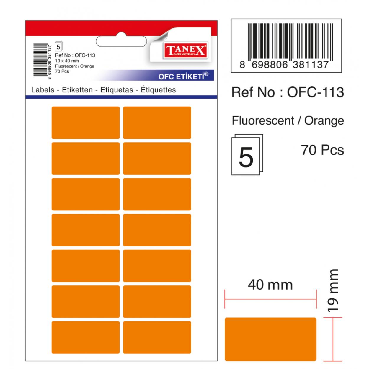 Tanex Ofc-113 Flo Turuncu Ofis Etiketi