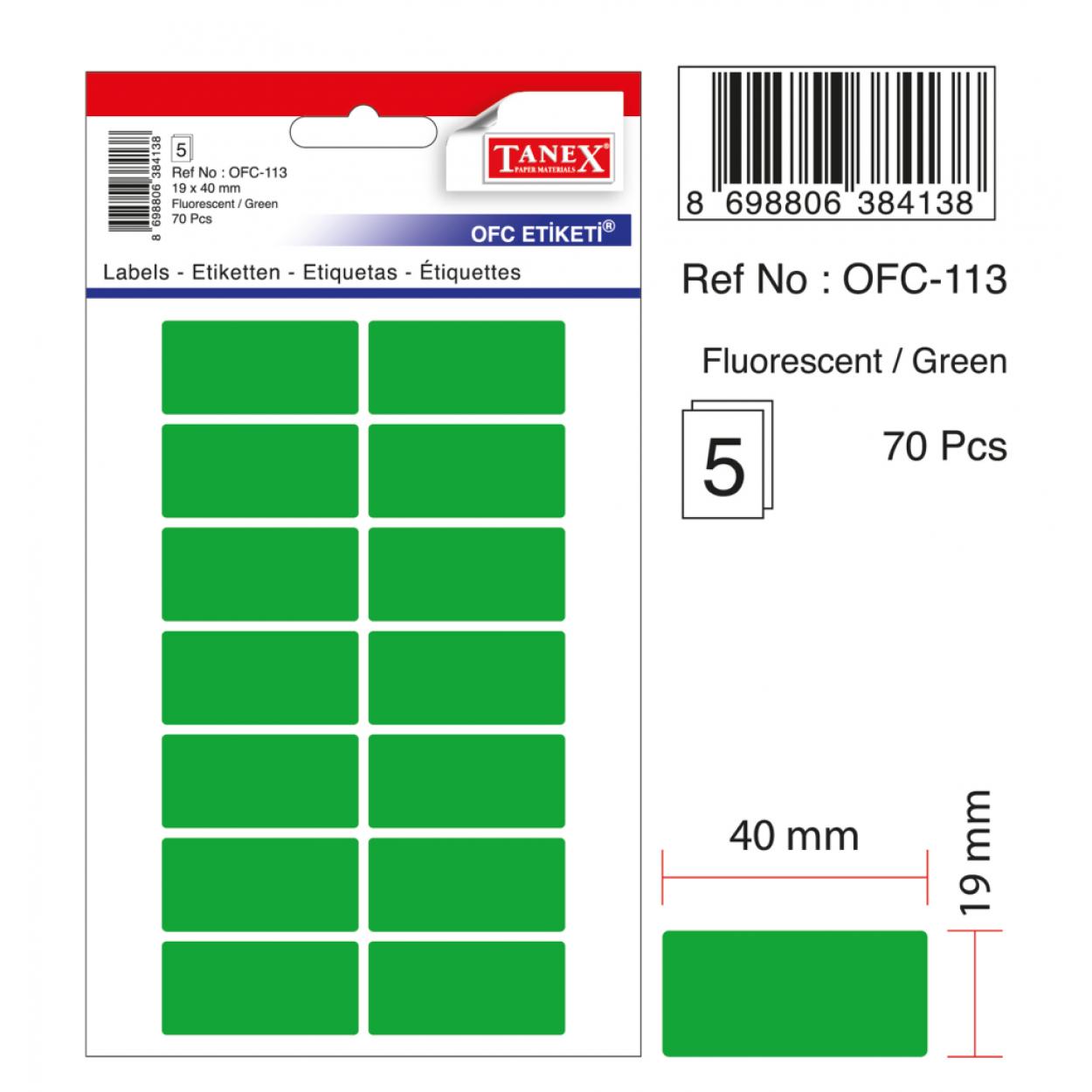 Tanex Ofc-113 Flo Yeşil Ofis Etiketi