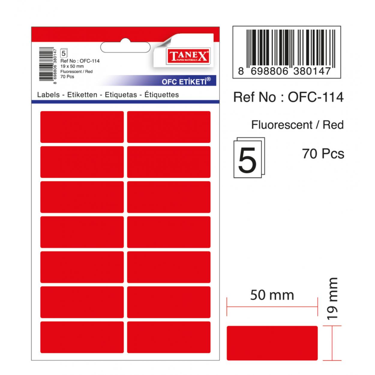 Tanex Ofc-114 Flo Kırmızı Ofis Etiketi
