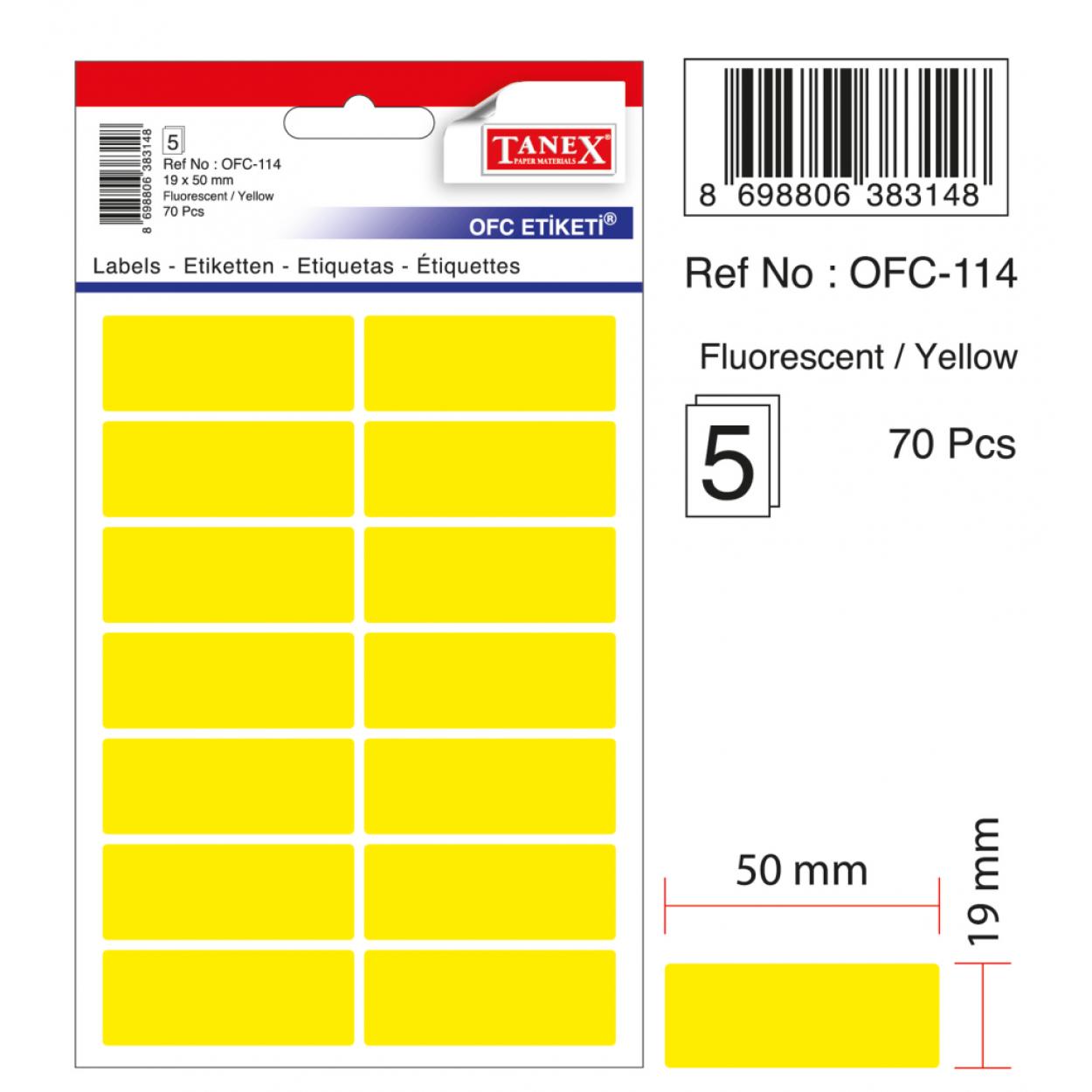 Tanex Ofc-114 Flo Sarı Ofis Etiketi