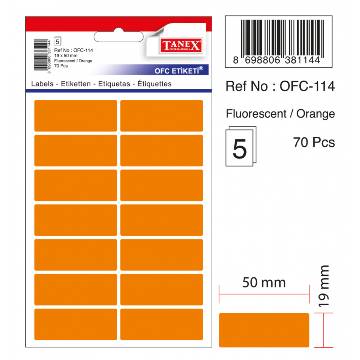 Tanex Ofc-114 Flo Turuncu Ofis Etiketi