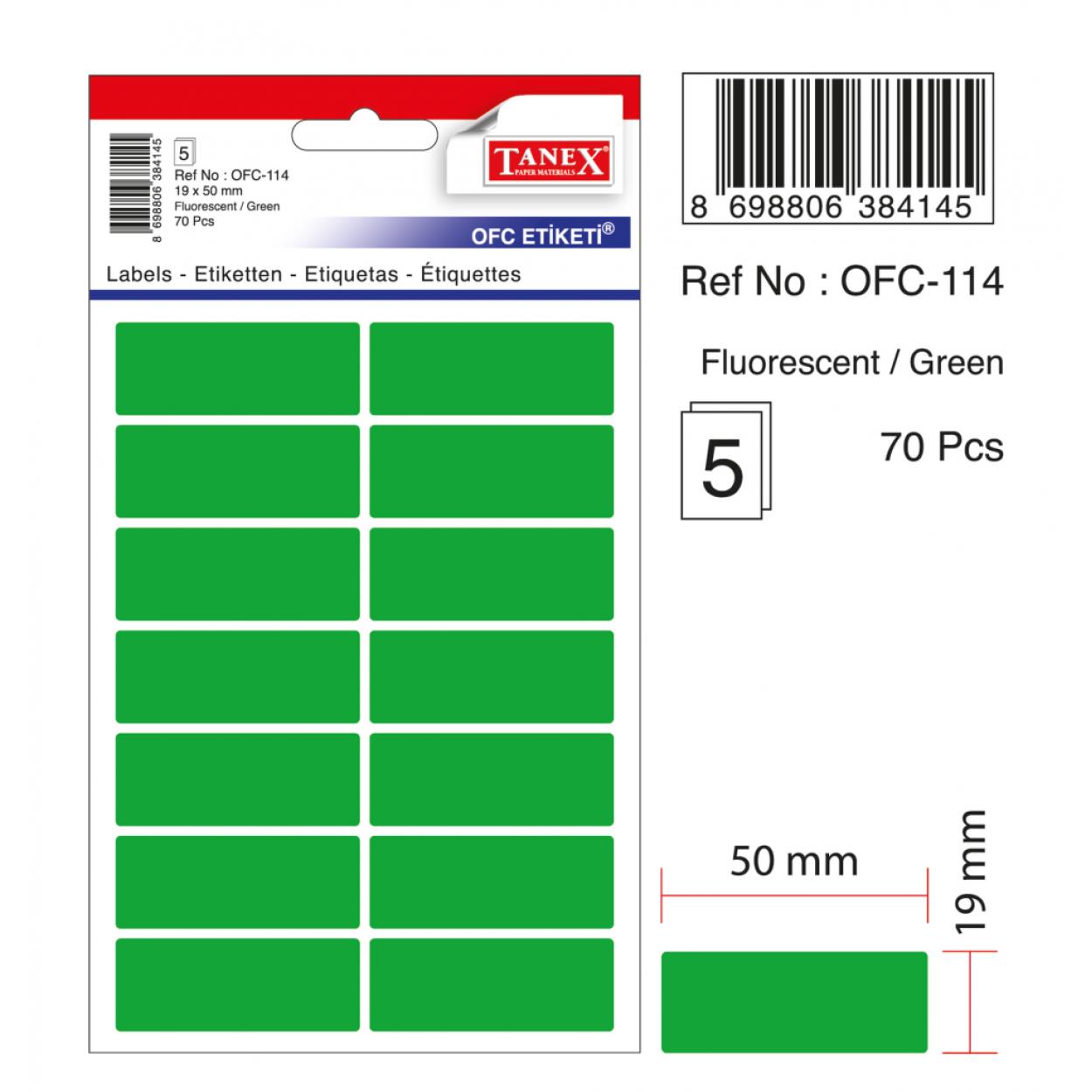 Tanex Ofc-114 Flo Yeşil Ofis Etiketi