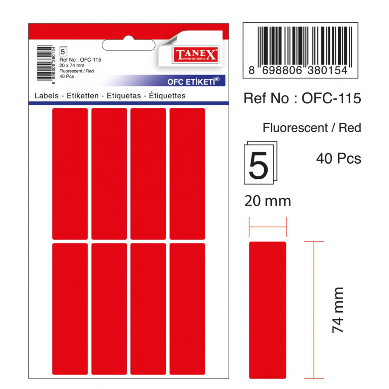 Tanex Ofc-115 Flo Kırmızı Ofis Etiketi