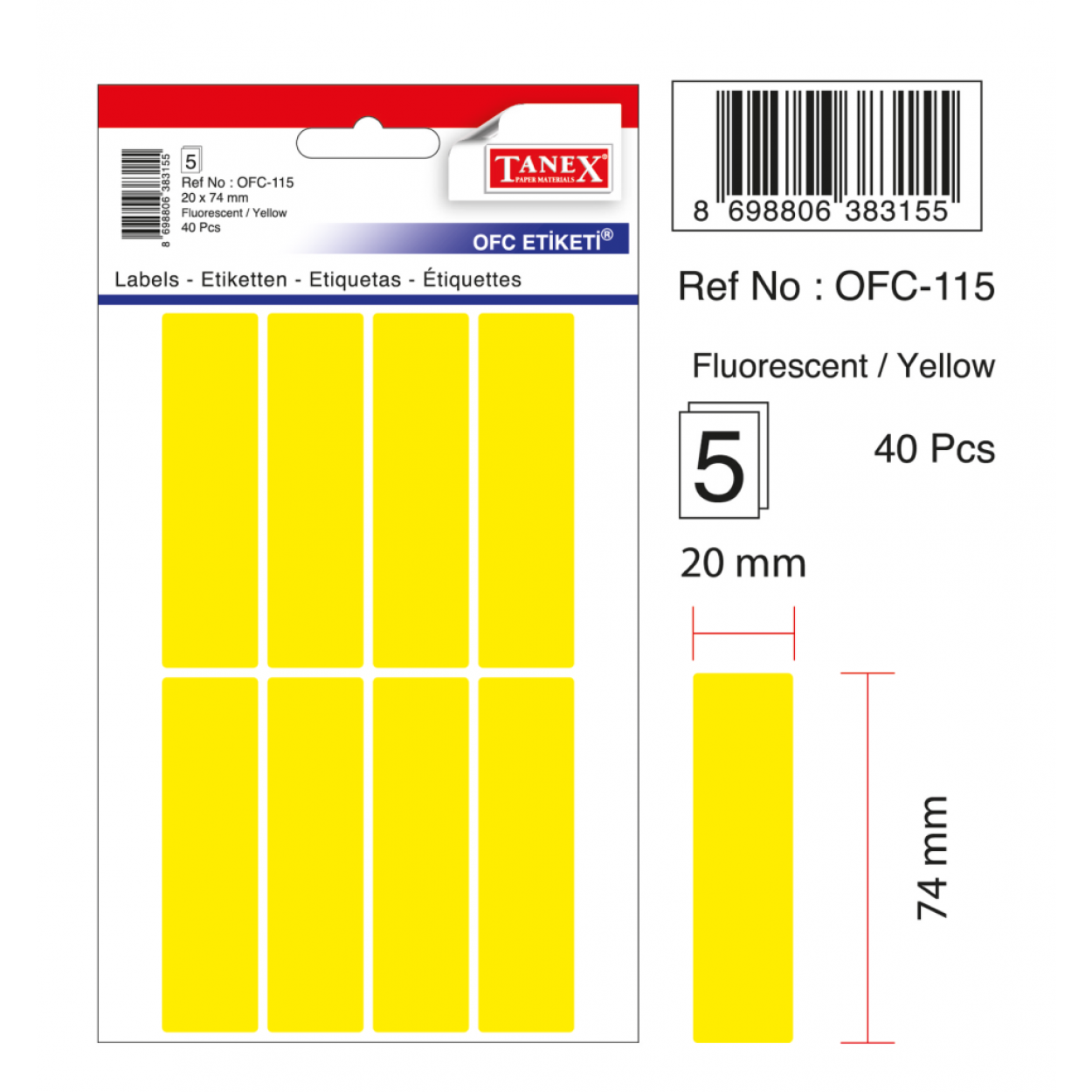 Tanex Ofc-115 Flo Sarı Ofis Etiketi