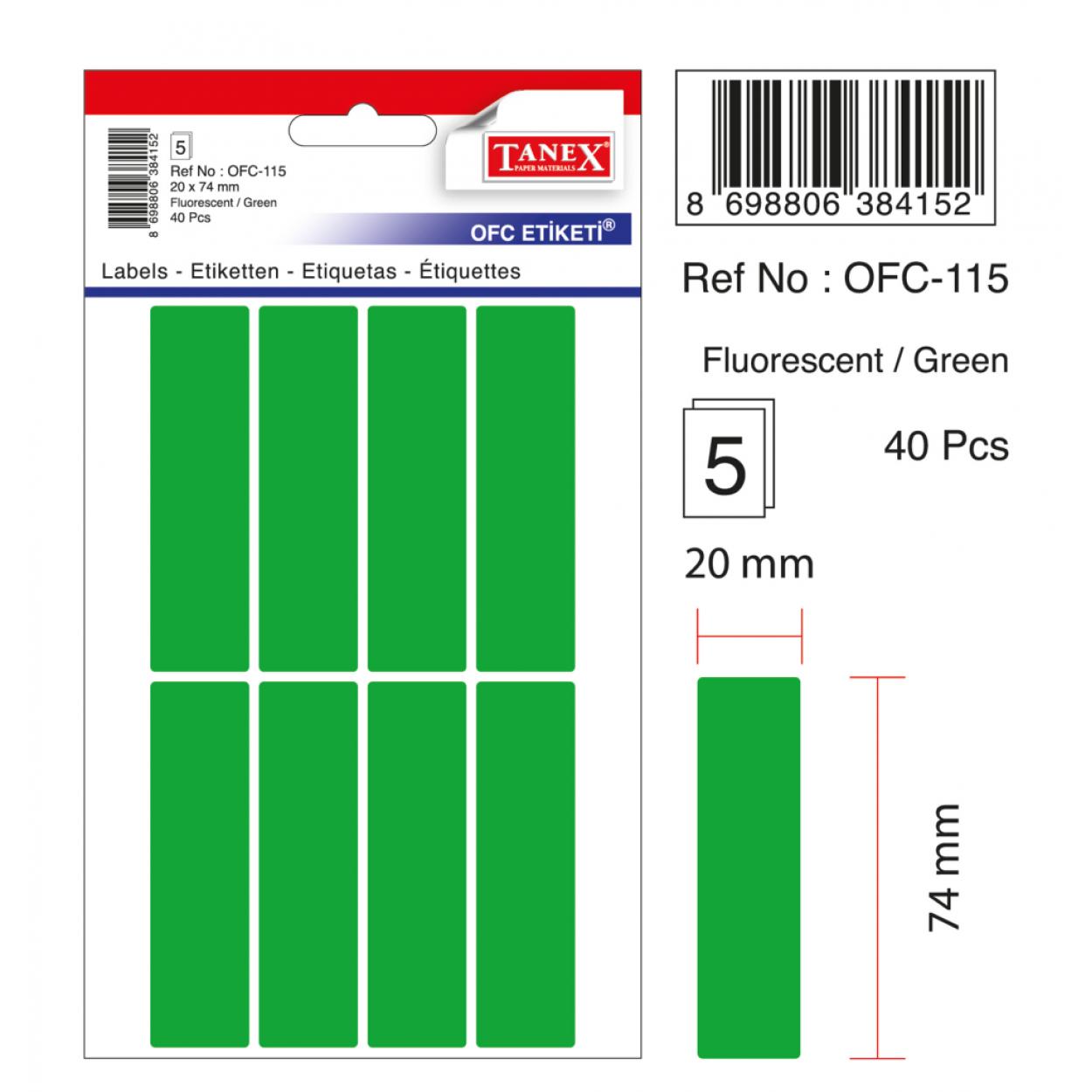 Tanex Ofc-115 Flo Yeşil Ofis Etiketi