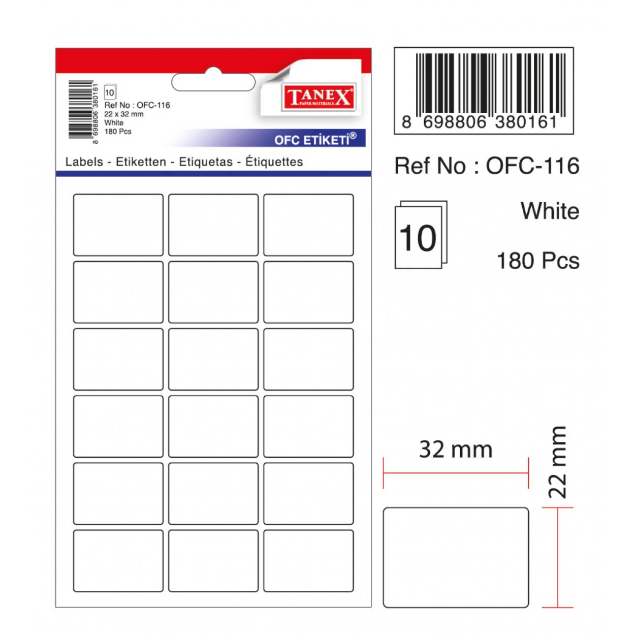 Tanex Ofc-116 Beyaz Ofis Etiketi