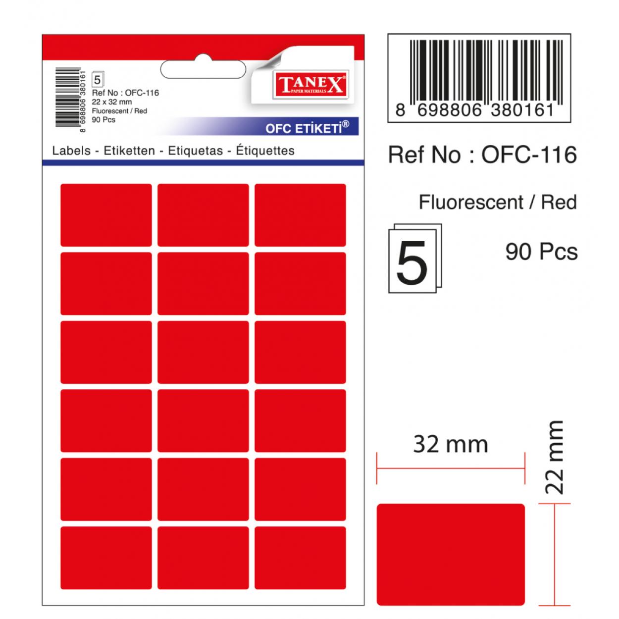 Tanex Ofc-116 Flo Kırmızı Ofis Etiketi
