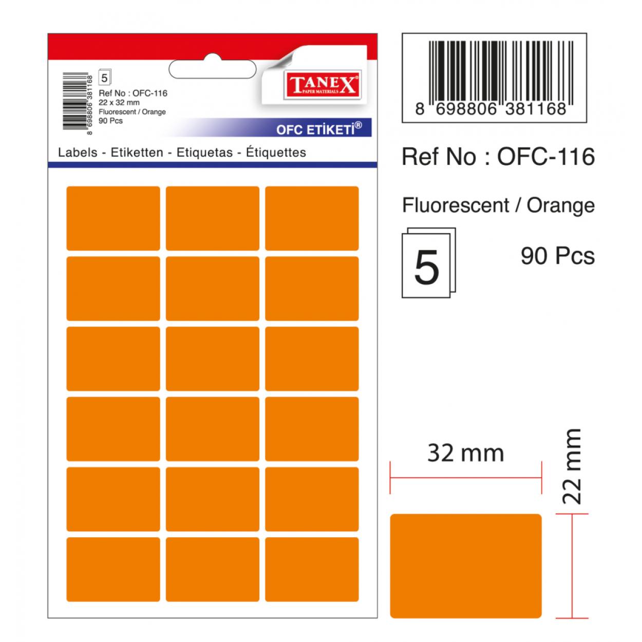 Tanex Ofc-116 Flo Turuncu Ofis Etiketi