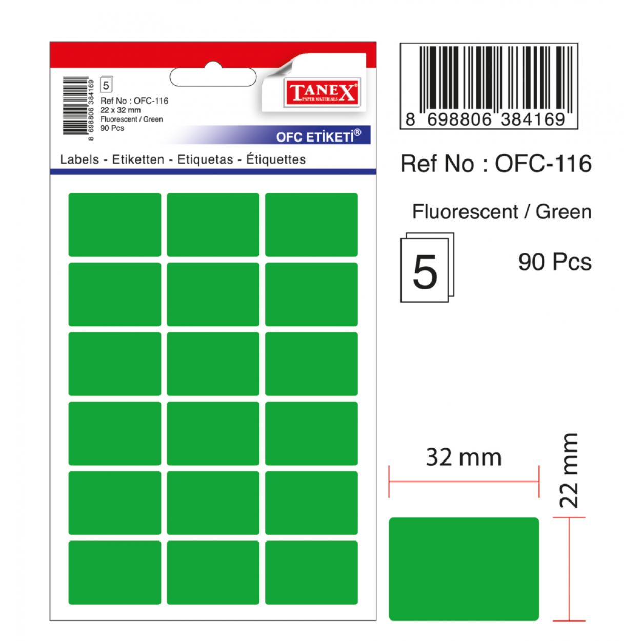 Tanex Ofc-116 Flo Yeşil Ofis Etiketi
