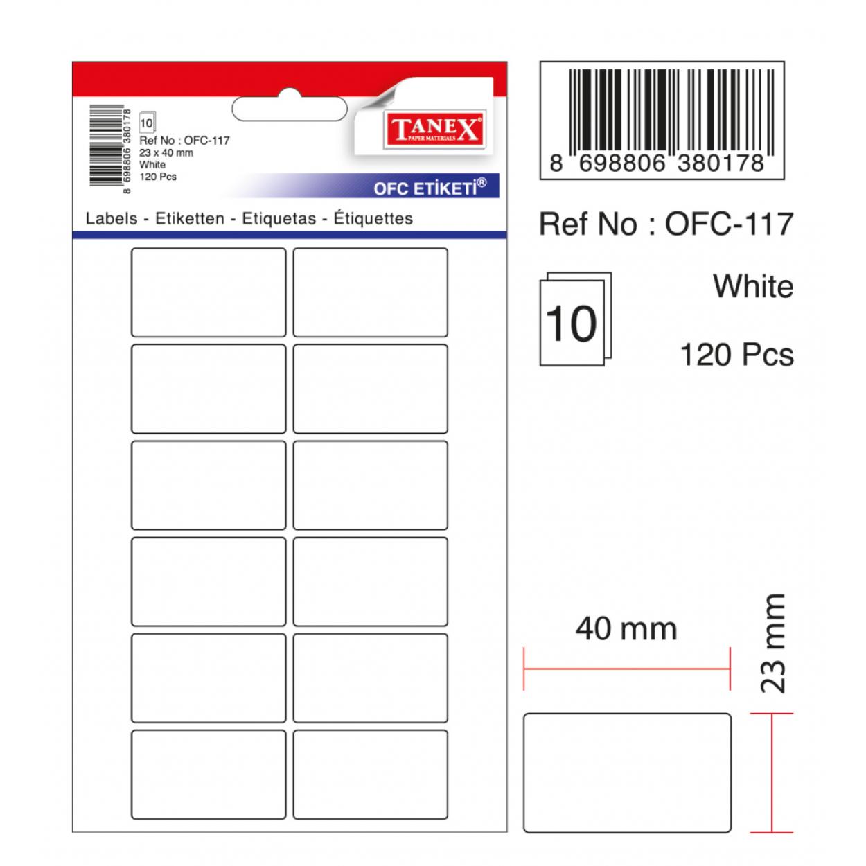 Tanex Ofc-117 Beyaz Ofis Etiketi