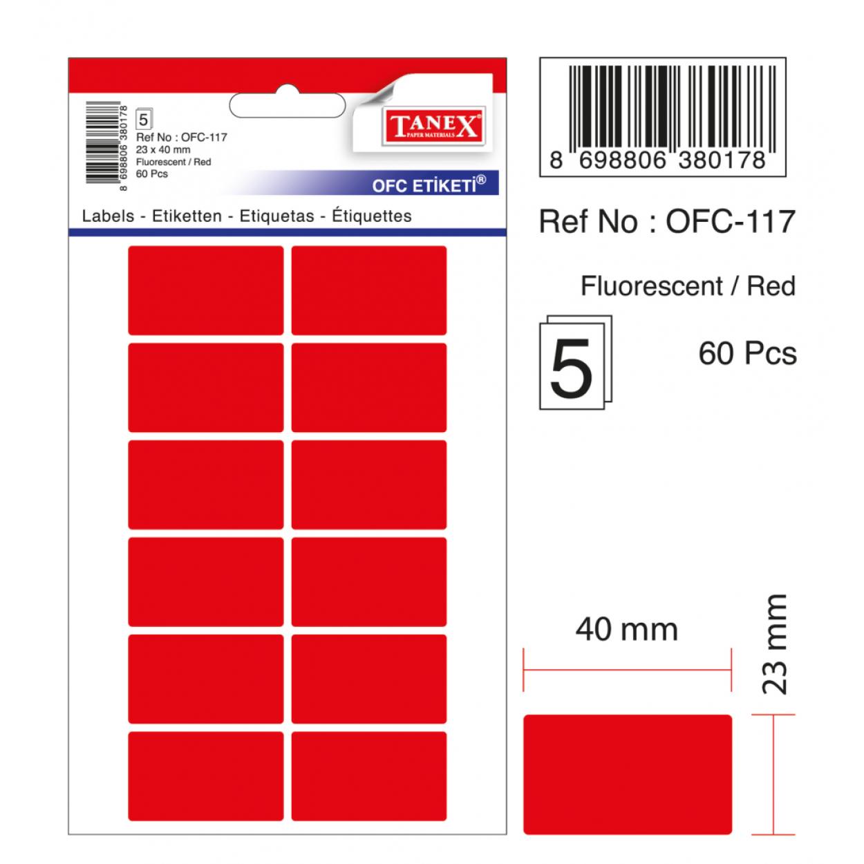 Tanex Ofc-117 Flo Kırmızı Ofis Etiketi
