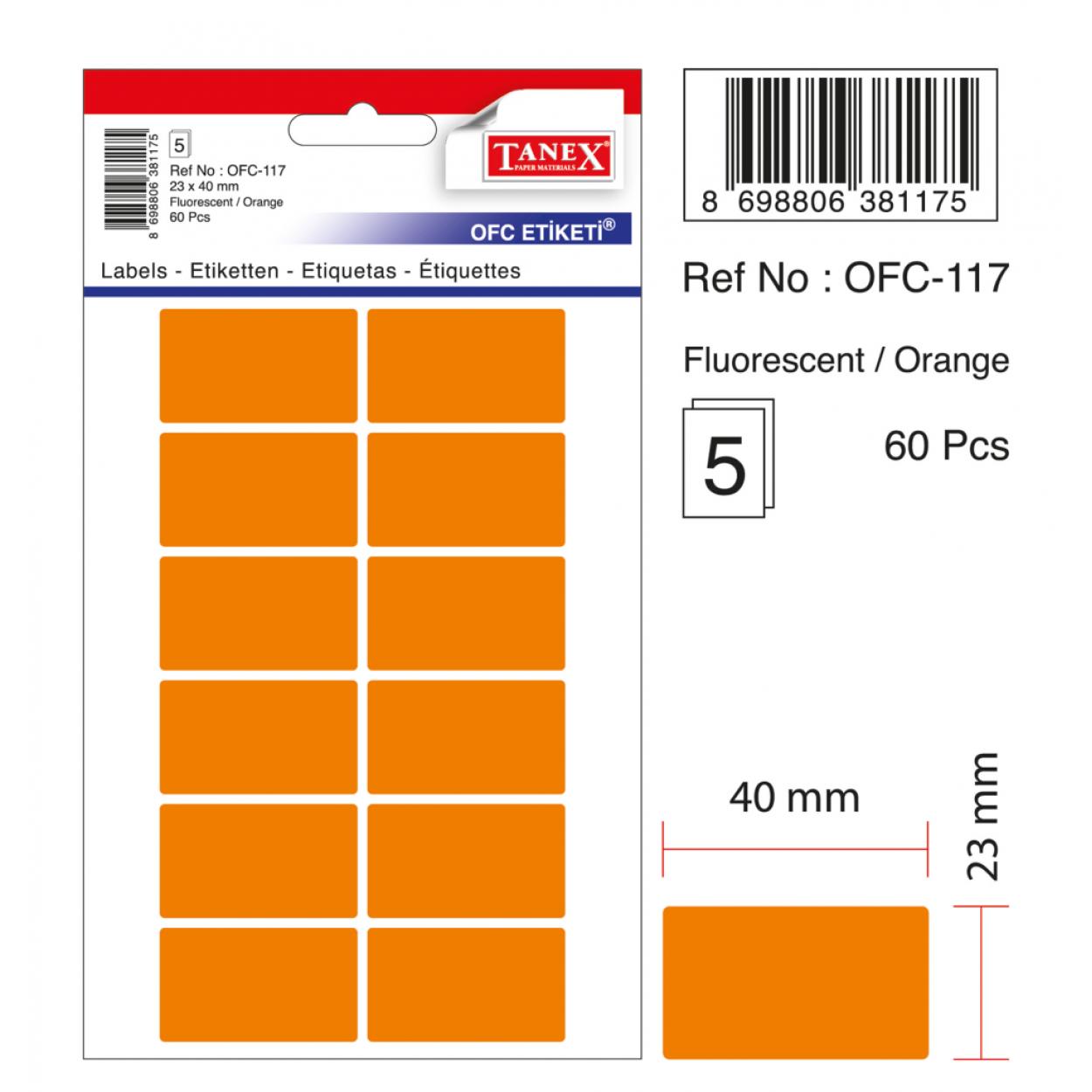 Tanex Ofc-117 Flo Turuncu Ofis Etiketi