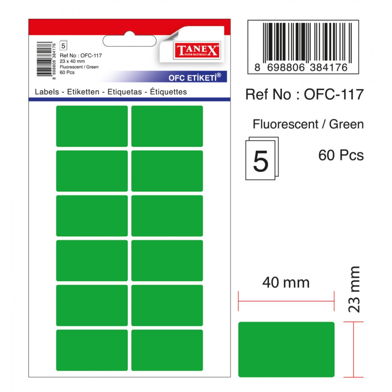 Tanex Ofc-117 Flo Yeşil Ofis Etiketi