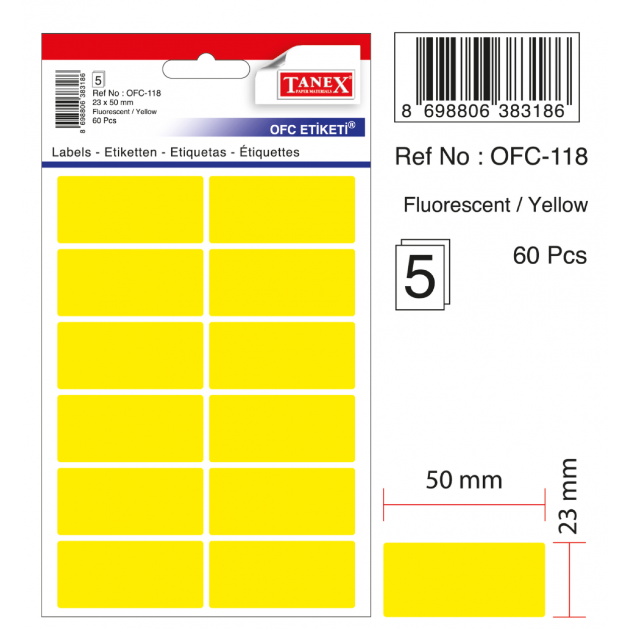 Tanex Ofc-118 Flo Sarı Ofis Etiketi