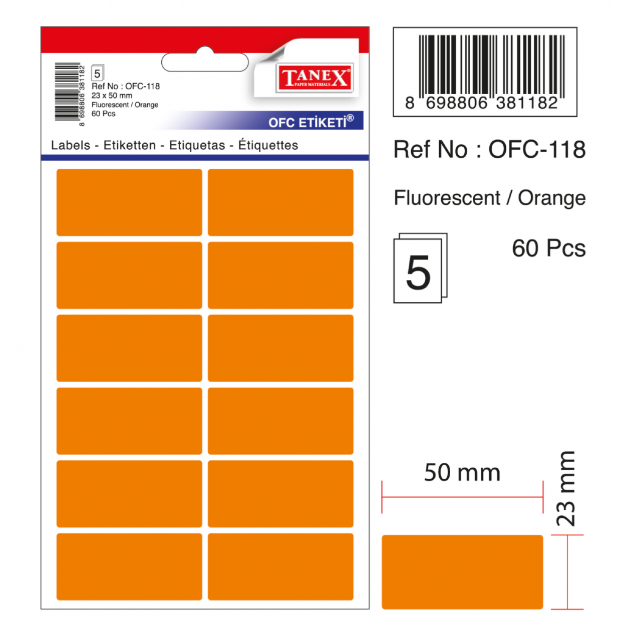 Tanex Ofc-118 Flo Turuncu Ofis Etiketi