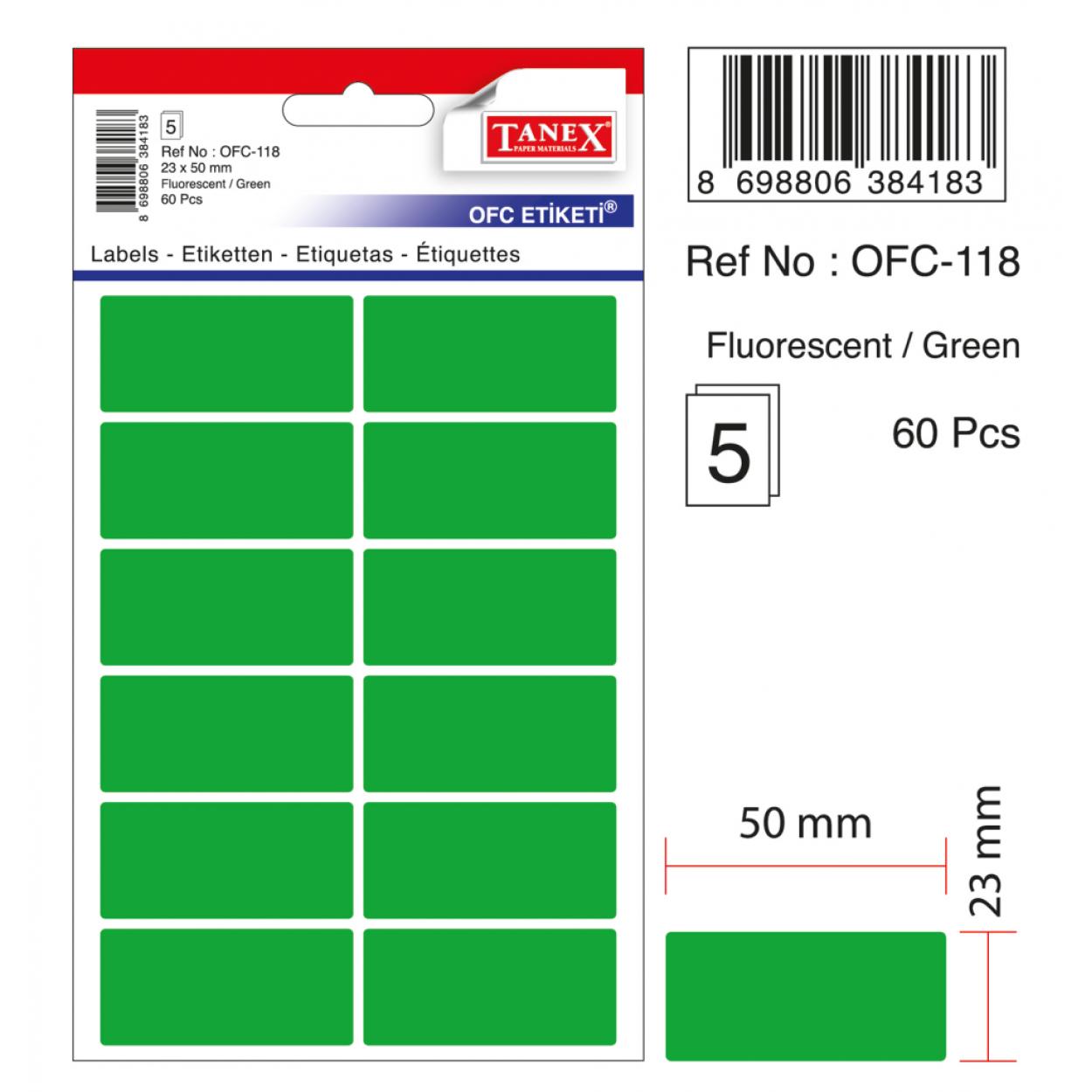Tanex Ofc-118 Flo Yeşil Ofis Etiketi