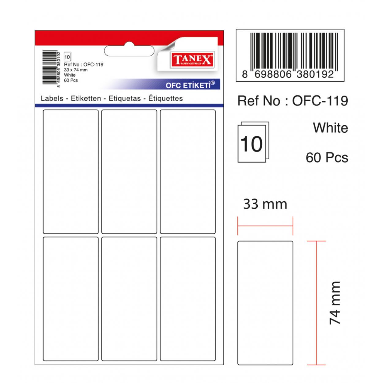 Tanex Ofc-119 Beyaz Ofis Etiketi