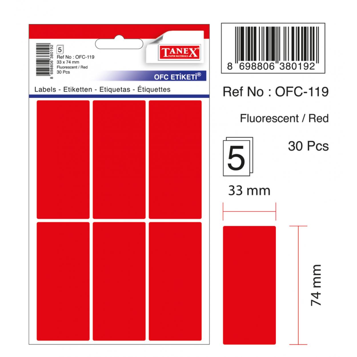 Tanex Ofc-119 Flo Kırmızı Ofis Etiketi