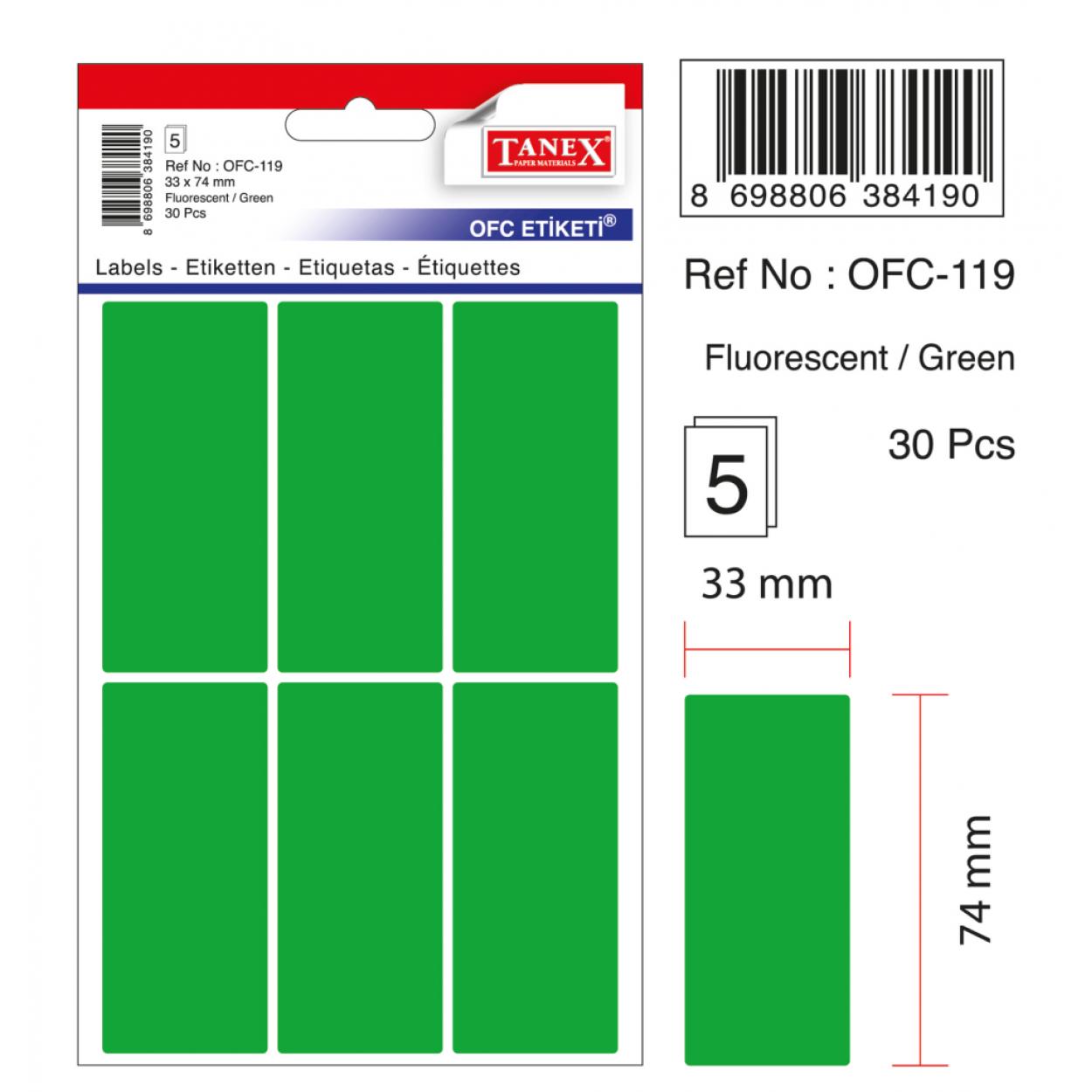 Tanex Ofc-119 Flo Yeşil Ofis Etiketi