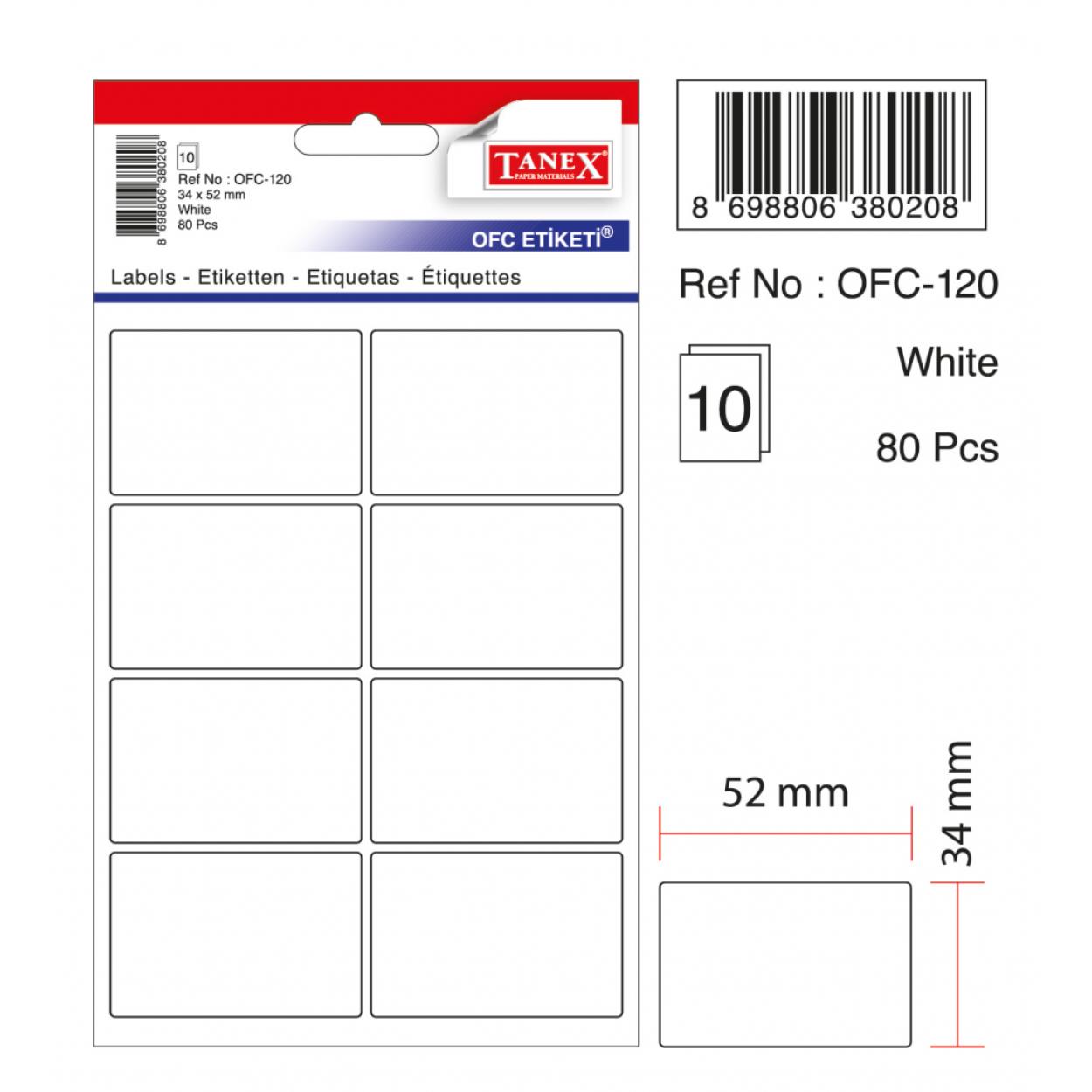 Tanex Ofc-120 Beyaz Ofis Etiketi