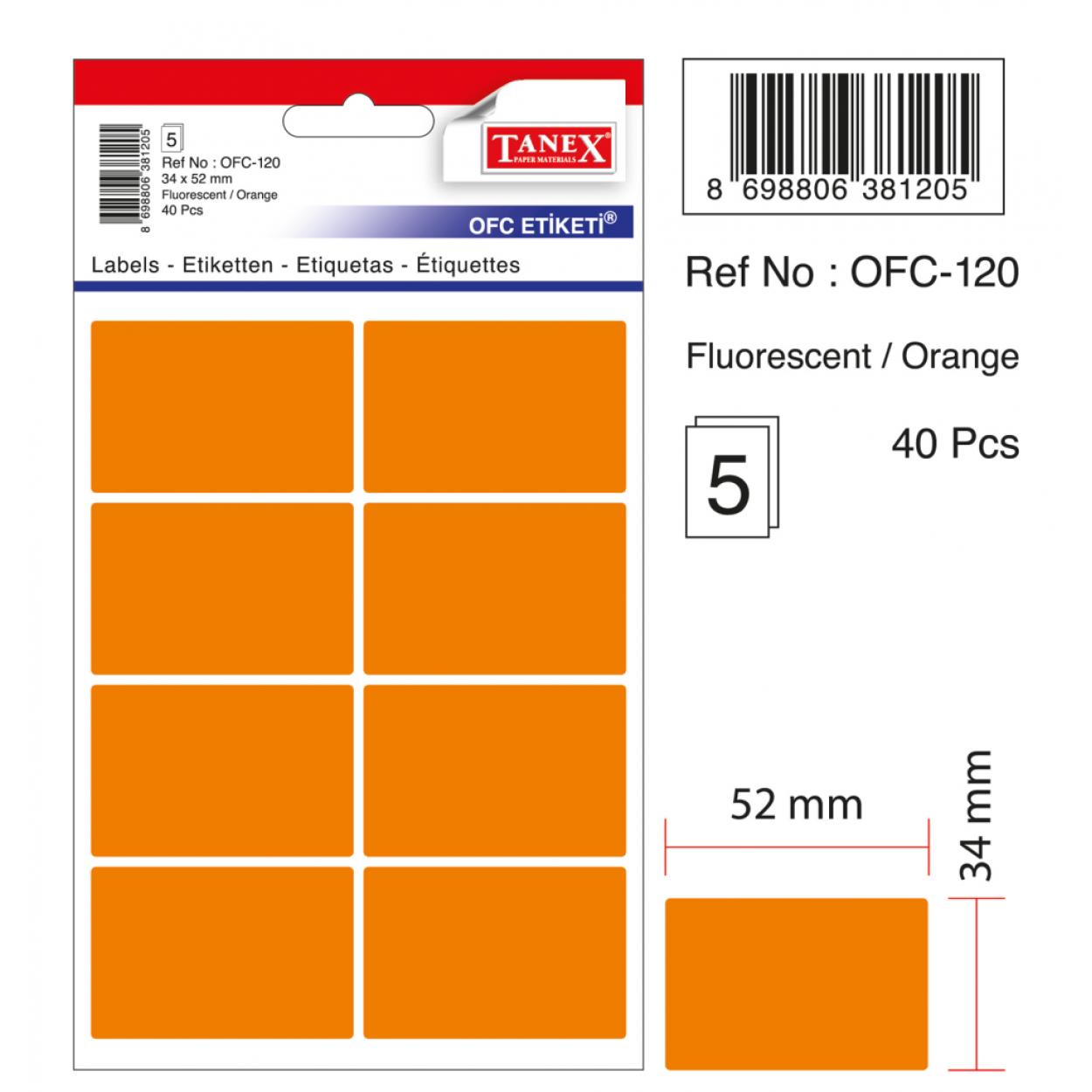 Tanex Ofc-120 Flo Turuncu Ofis Etiketi