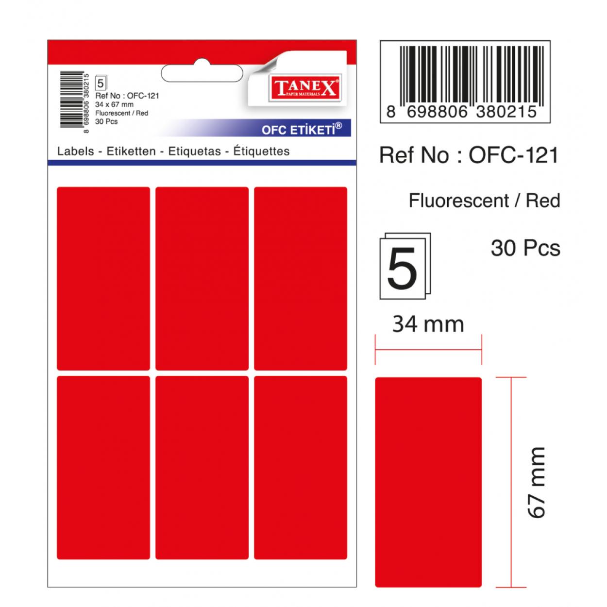Tanex Ofc-121 Flo Kırmızı Ofis Etiketi